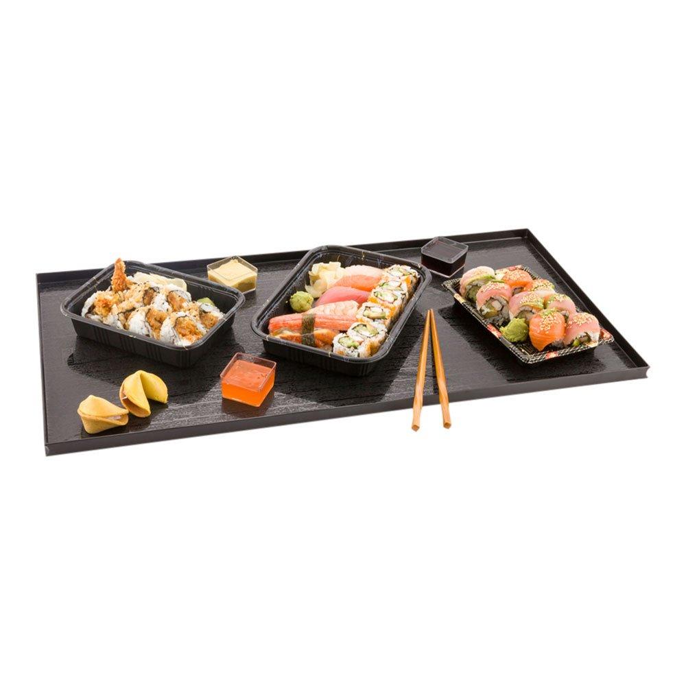 Black Rectangular Plate, Food Tray, Plate with Raised Sides - Wood Grain Pattern - 23.6'' x 11.8'' - 25ct Box - Di Legno - Restaurantware