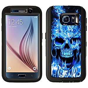 Skin Decal for Otterbox Defender Samsung Galaxy S6 Case - Blue Flaming Skull on Black