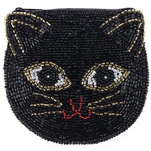- E.a@market Chinese Handmade Beaded Coin Purse Cute Cat (Black)