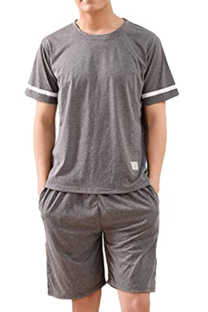 88fa2426ef4 Lasher Men s Summer Knit Sleepwear Lounge Set Short Sleeve Pajama T-Shirt  and Pants (
