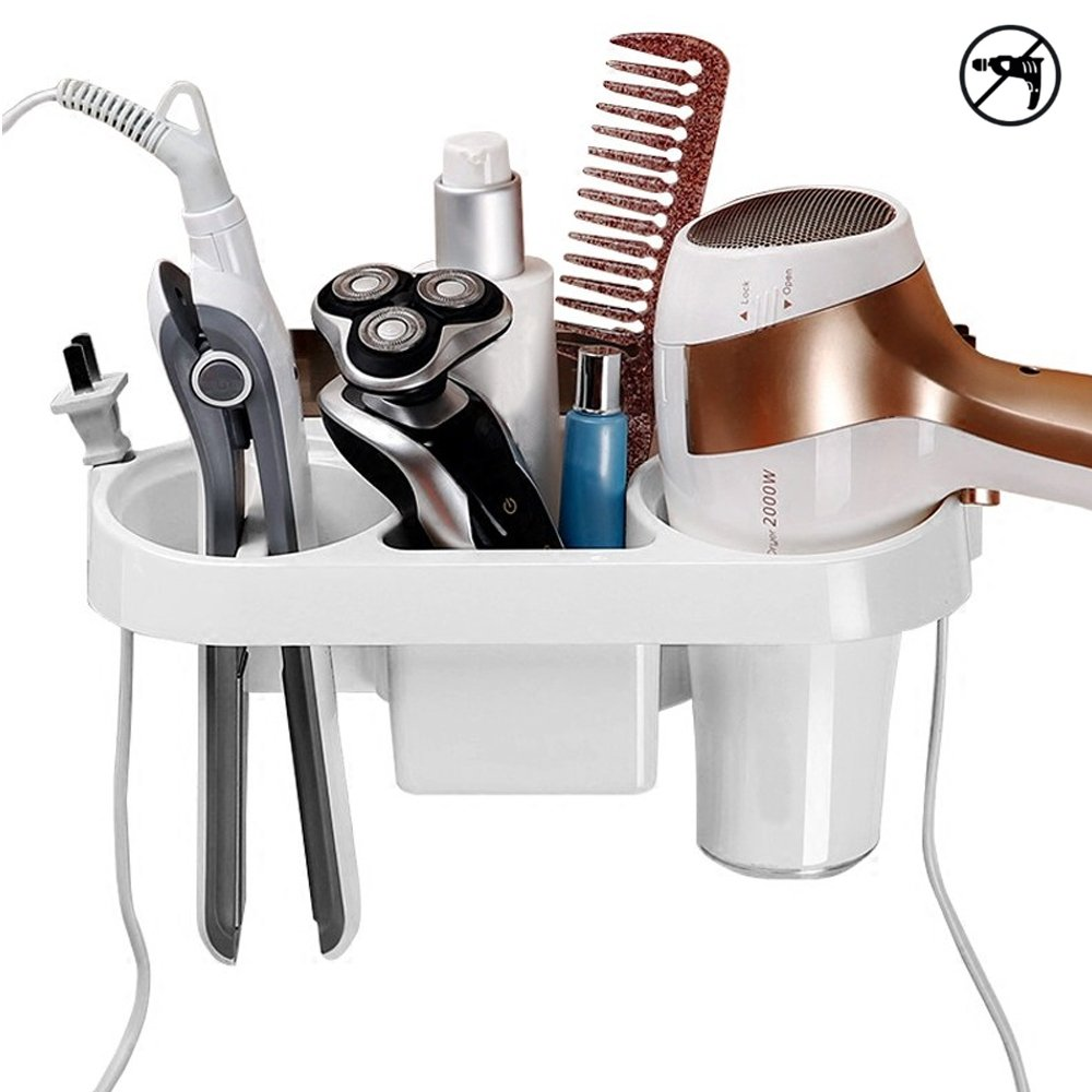 COAWG Adhesive Hair Dryer Holder, Wall Mounted No Drilling Plastic Bathroom Blow Drier Storage with Plug Hook, Hair Care Tools Organizer Basket with Cups for Curling Flat Straight Hot Iron