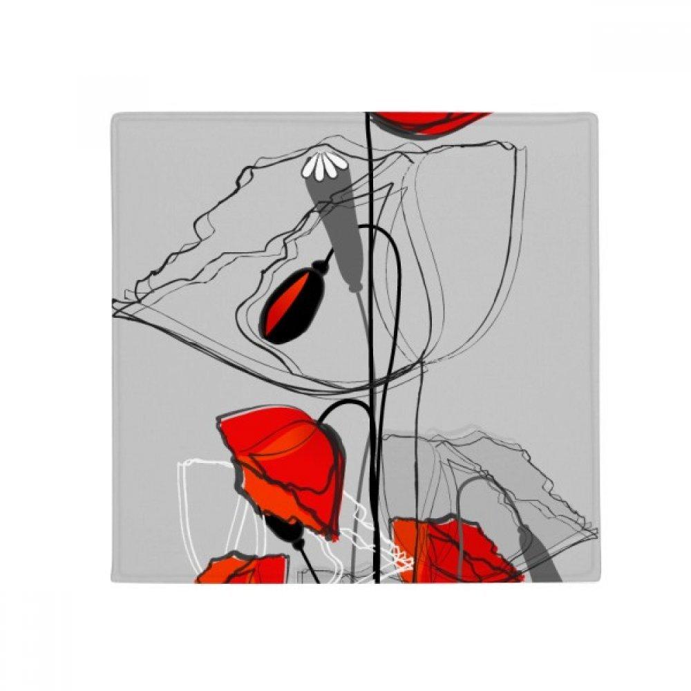DIYthinker Red Flowers Abstract Art Line Painting Corn Poppy Anti-Slip Floor Pet Mat Square Home Kitchen Door 80Cm Gift
