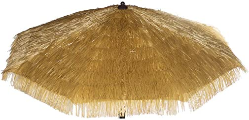 Bayside-21 Polyester Umbrella Canopy sew with Artificial Plastic Straw 9ft – 8 Ribs Umbrella Replacement Canopy Only Grass Umbrella Canopy 9 , Tiki Natural