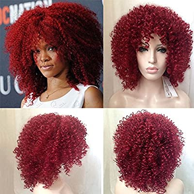 Royalvirgin Rihanna Cut Hair Style Synthetic Red Curly Wig Afro Kinky Curly Wigs For Women Perruque Cosplay Wigs