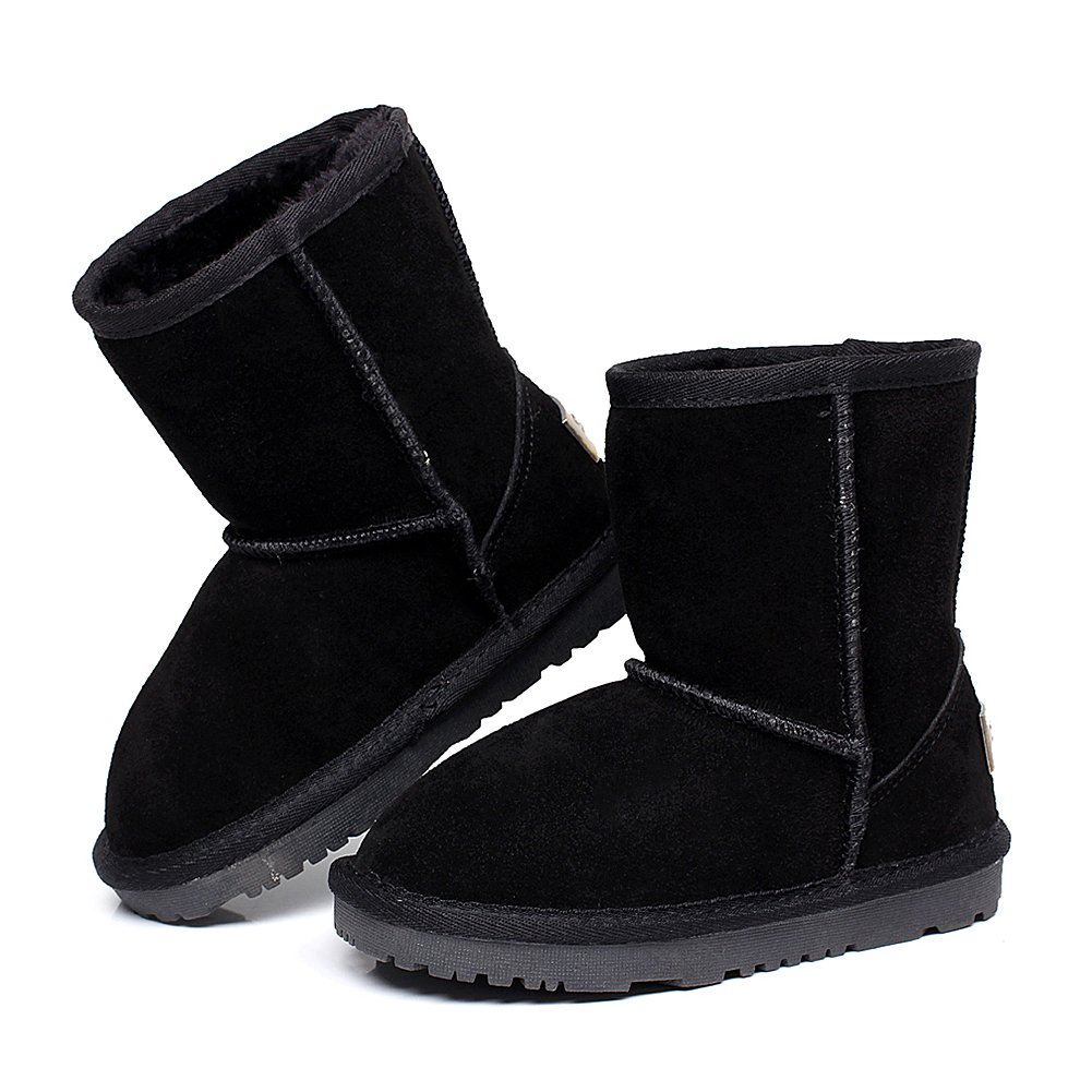 Shenn Boy's Girl's Cute Comfort Ankle High Winter Warm Suede Leather Snow Boots TD1025(Black,13 M US Little Kid) by Shenn (Image #2)