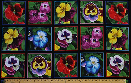 Flowers Cotton Quilt Fabric (23.5inch X 44inch Panel Lovely Pansies Flowers Squares Black Cotton Fabric Panel (474-black))