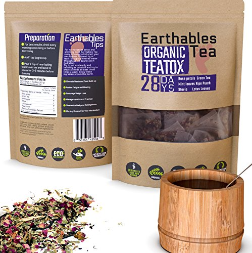 Earthables Detox Tea (28 Teabags) – Organic Hand Blended Tea for Weight Loss and Cleanse – With Rose Petals, Garcinia, Lotus Leaves, Green Tea, Pu Erh – Liver Detox, Burn Belly Fat, Body Cleanse
