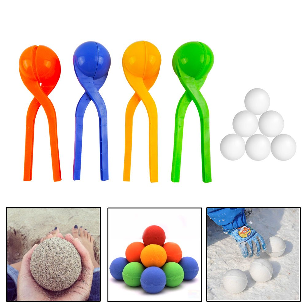 Winter Toys 4 Packs Snowball Makers For Kids, Boys And Girls-Best Snow Fighting Tools to Protect Kids Hands From Frostbite Outdoors by BabyKim