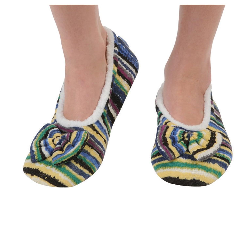 Snoozies Women's Lightweight Wavy Stripe Boho with Bow Slipper Socks
