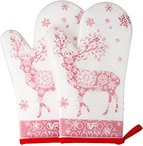 FAVIA 1 Pair Non Slip Silicone Oven Mitts with Printing Cotton Lining Kitchen Gloves for Kitchen Cooking Baking Heat Resistant Up to 480℉ 250℃ Waterproof BPA Free (Medium, Christmas elk)