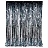 SK Novelty 3 x 8 Black Tinsel Foil Fringe Window/Door Party Decor Curtain - 2 Pack