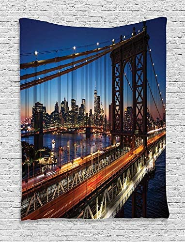 Ambesonne NYC Tapestry, Sunset at Brooklyn Bridge River Famous Touristic Attractions Large Modern, Wall Hanging for Bedroom Living Room Dorm, 60 X 80 , Orange Night
