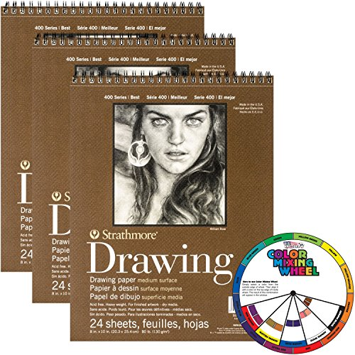 Strathmore 400 Series Medium Surface Drawing Pads 8 x 10 Inch 24 Sheets Per Pad (3-Pads) with Color Mixing Wheel
