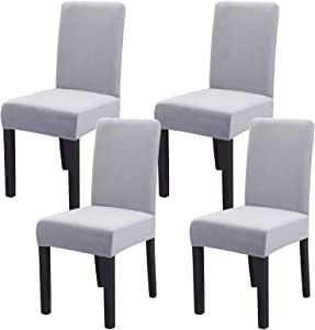 Ogrmar 4PCS Velvet Stretch Removable Washable Dining Room Chair Protector Slipcovers/Home Decor Dining Room Seat Cover(Light Grey)