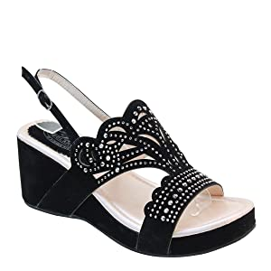 New Brieten Women's Bling Studded Cut-out Wedge Platform Slingbacks Comfort Sandals (5.5, Beige)