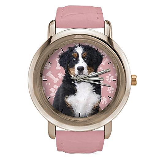 Reloj de pulsera con diseño de perro para mujer, correa de piel de oro rosa con diseño de perro de collie: Amazon.es: Relojes