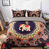 UniTendo 3 Pieces Set Ethnic Bohemian Style Nice and Vivid Color Exotic Bedding Elephant Printed Duvet Cover Set Soft Fiber Bedding Sets, Queen Size, Purple, Elephant and Monkey.