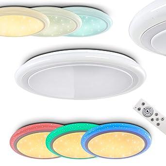 LED Deckenleuchte Lowell Aus Metall Weiss   Runde Farbwechsler Zimmerlampe  Für Schlafzimmer   Wohnzimmer   Flur