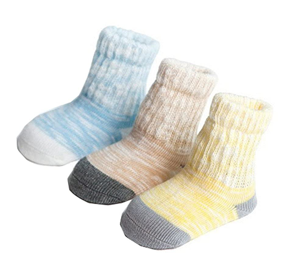 3 Pairs Pack Unisex Baby Infant Toddler Kids Winter Thermal Casual Comfy Warm Knitting Socks 0-6,6-12,12-36Month