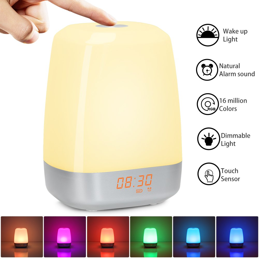 Wake-up Light, Night light with Sunrise Simulation, 5 Nature Sound, Touch Control, Bedside Light with 3 Bright Levels, 256 Color Changing Mode Sunrise Alarm Clock for Bedroom, Charisma's gift product image
