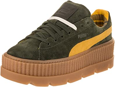 PUMA Womens Fenty by Rihanna Suede Cleated Creeper Casual Sneakers, Green,  8.5
