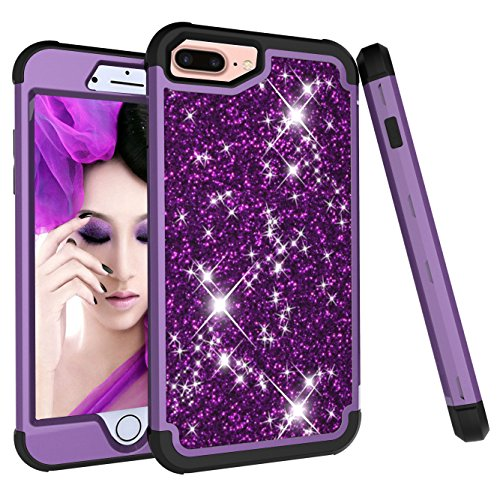 iPhone 8 Plus Case, iPhone 7 Plus Case, Ankoe 3D Luxury Glitter Sparkle Bling Shiny Hybrid Sturdy Armor Defender High Impact Shockproof Protective Cover Case for iPhone 7 Plus/8 Plus (Purple Black) (Green Accent Plate 9')