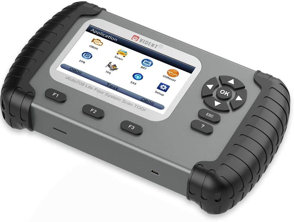 VIDENT iAuto708 Full System Auto Scan Tool OBDII Scanner OBDII Diagnostic Tool with 4.3 LCD Color Display Support Oil Light Service//Electronic Parking Brake Reset Functions