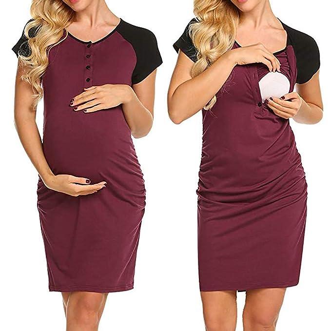 e9a3c4b7a ASDEAM Mujere Embarazada Vestido de Maternidad de Verano enfermería sólido  Lactancia Mujeres Embarazadas Maternidad multifunción Moda