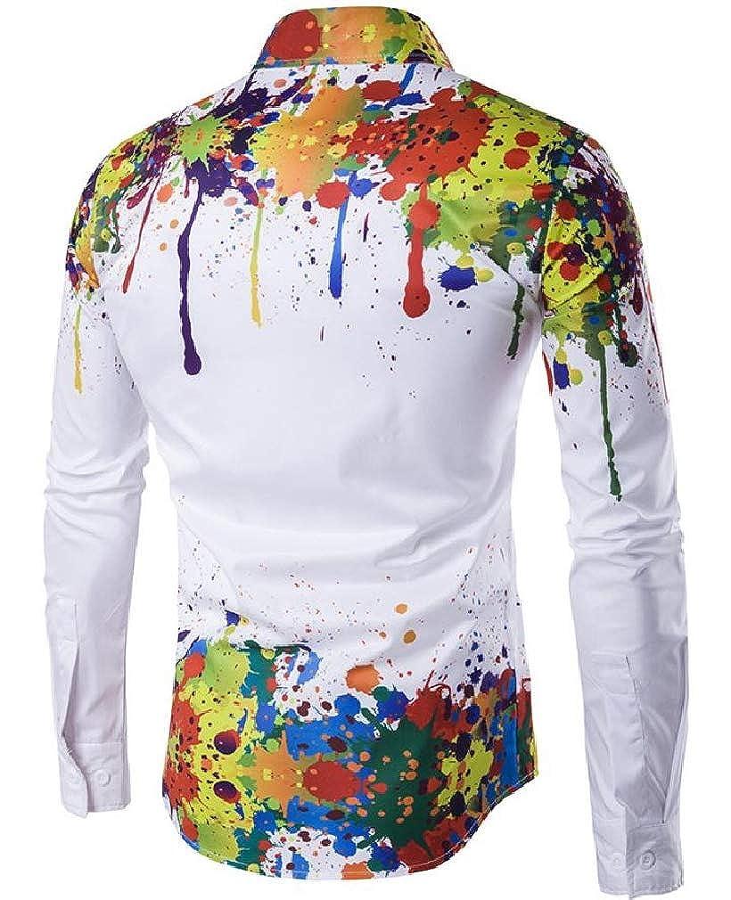 Hajotrawa Mens Long Sleeve Vintage Printed Tops Button Down Shirts