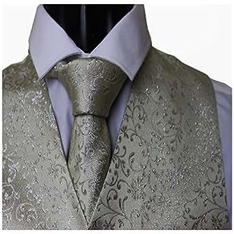 wc0094OTC boda de patrón de hojas de flores de color marfil chaleco y corbata a juego-Adulto XXXL