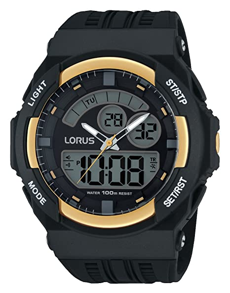 Lorus Watches Sport R2390JX9 - Reloj para hombres, correa de goma color negro