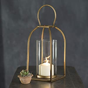 Attractive and Graceful Small Tribeca Gold Metal Lantern Candle Holder with Clear Glass, Rustic Indoor / Outdoor Light for Your Home Decor - Modern Rustic Vintage Farmhouse Style