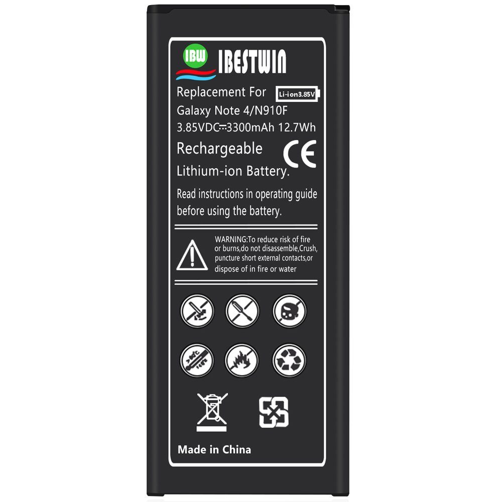 Note 4 Battery IBESTWIN 3300mAh Li-ion Replacement Battery for Samsung Galaxy Note 4 N910, N910V, N910A, N910T, N910P, N910R4, N910U 4G LTE, N910F [3 Years Warranty]