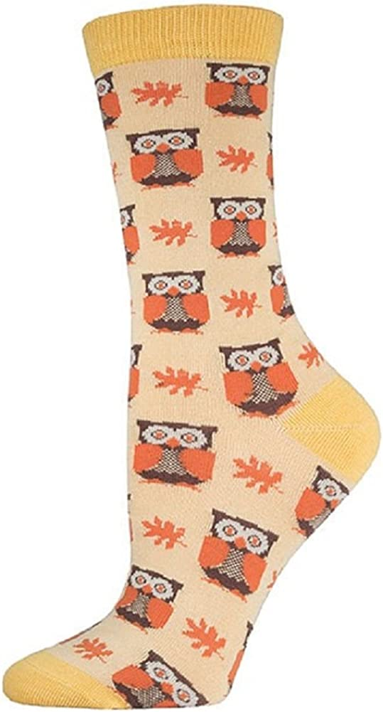 Socksmith Women/'s Bamboo Crew Socks Woodland Owls Birds Green Novelty Footwear