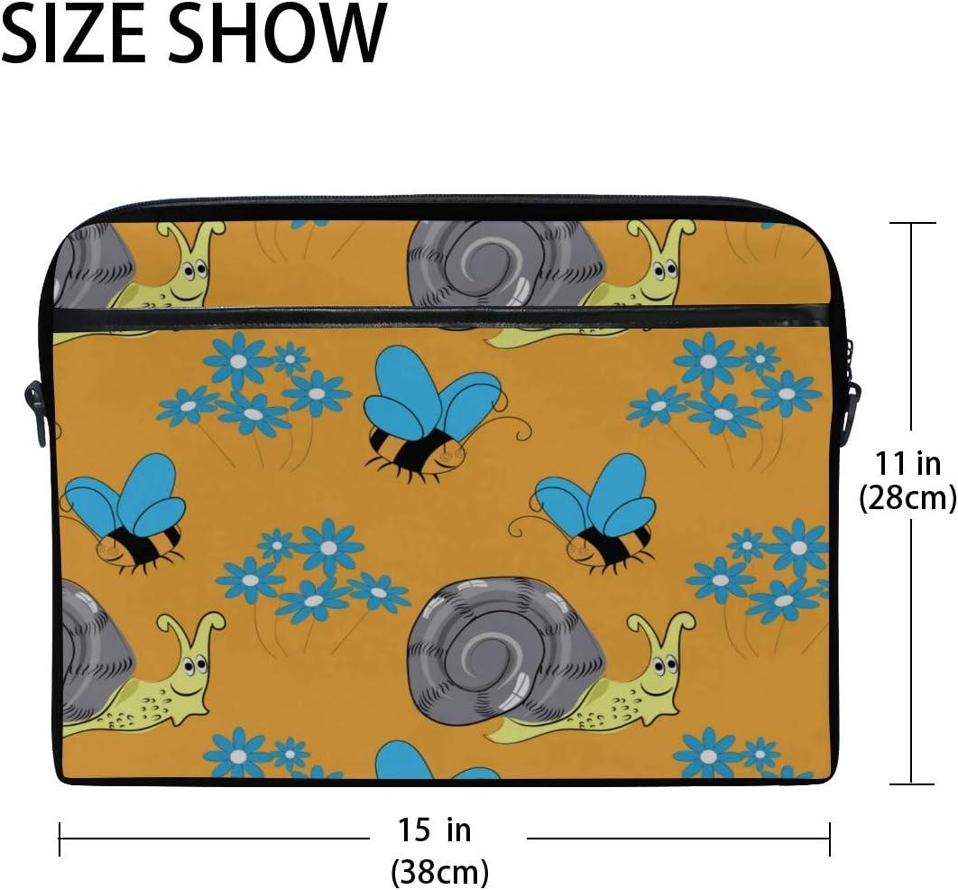 Briefcase Messenger Shoulder Bag for Men Women College Students Business People Laptop Bag Pattern Bees Snails Flowers On 15-15.4 Inch Laptop Case