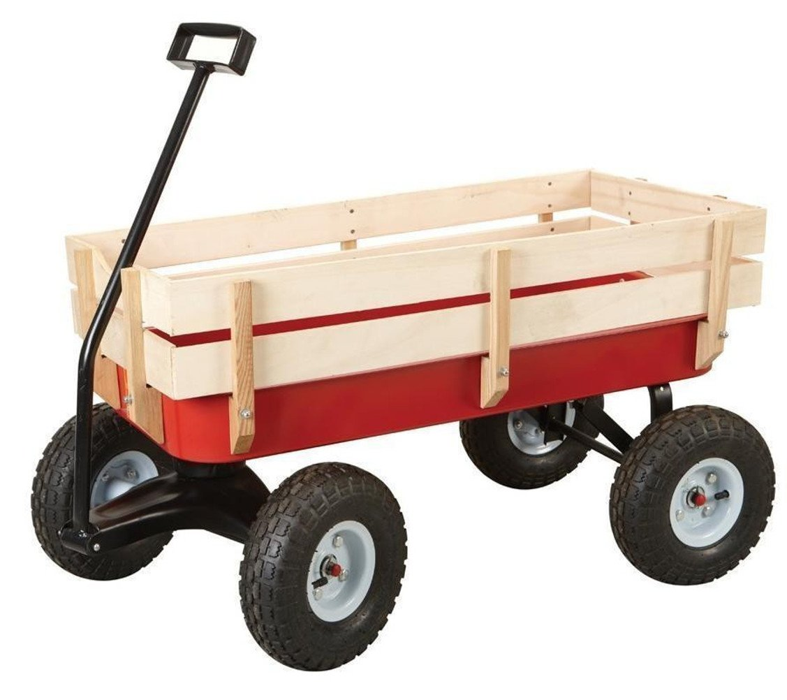 All Terrain Steel and Wood Pull Cart Wagon For Kids w/ Extra Large 10'' Air Tires For Hauling - Heavy Duty Country Model 300lb Load Capacity