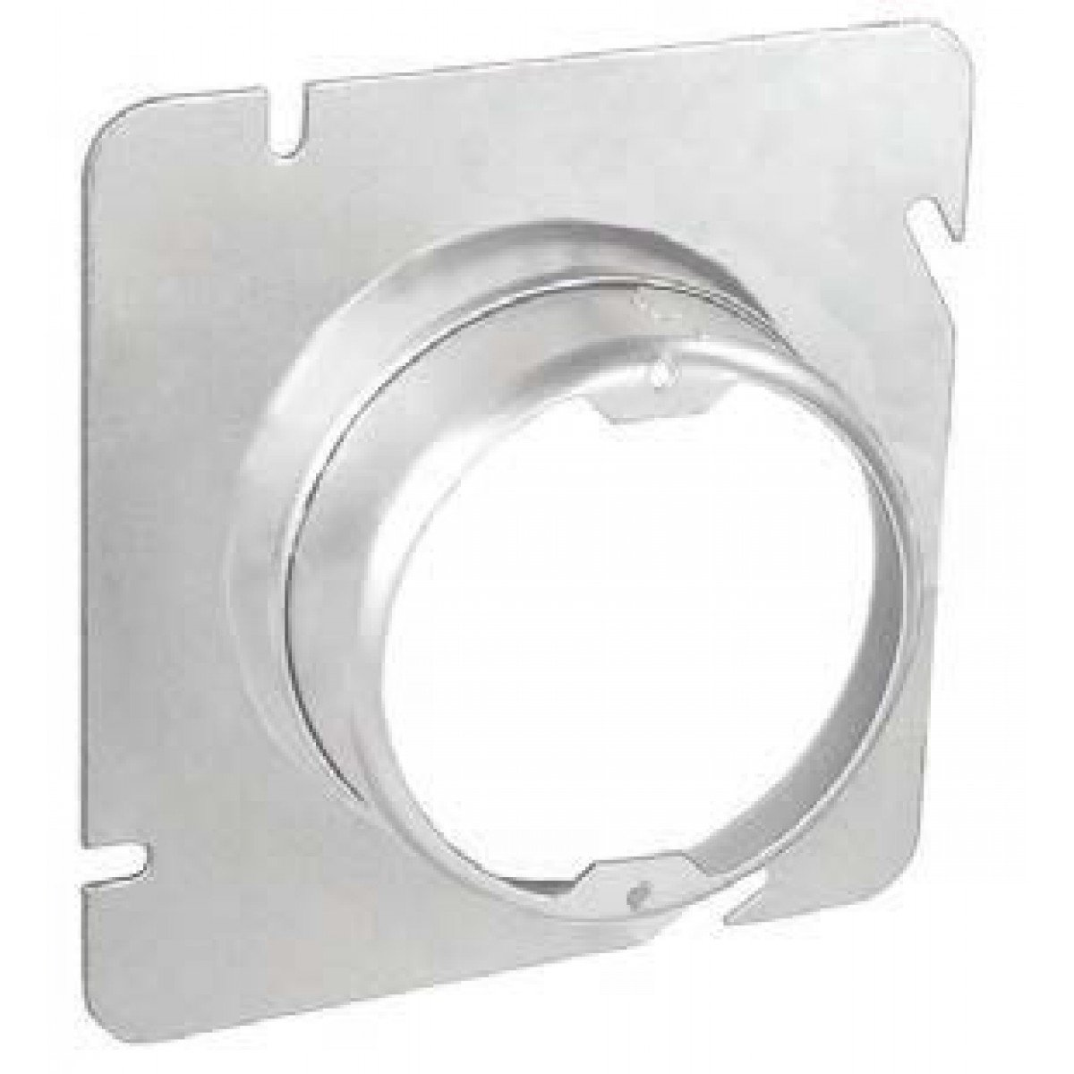1 Pc, 4-11/16 Square to Round Adjustable Depth Device Ring, 3/4 to 1-1/2 In. Raised, Zinc Plated Steel Used w/4-11/16 In Square Boxes Installed In Ceilings, Walls & Floors