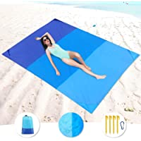 "Beach Blanket Sandproof 83"" X 79"" Oversize Outdoor Beach Mat for 6 Adults, Waterproof Picnic Blanket Portable…"