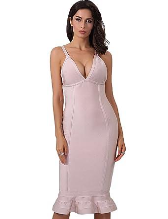 Adyce Mujer Vestidos Bandage Dress Mermaid (Pink, EU 38/40)