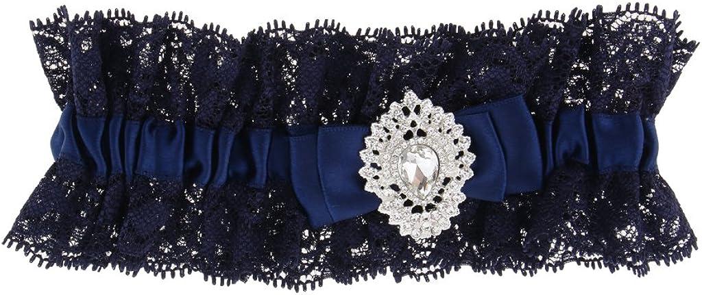 Auff/ällig Dunkelblau Schleife Strumpfband Strassstein Garter Spitze Braut Beinband Braut Accessoires passt an alle Abendkleid