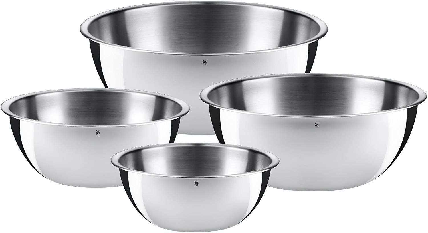 WMF 645709990 Gourmet Bowl Set for Kitchen 4-Piece, Cromargan Stainless Steel, Multifunctional, Mixing Bowl, Serving Bowl, Stackable