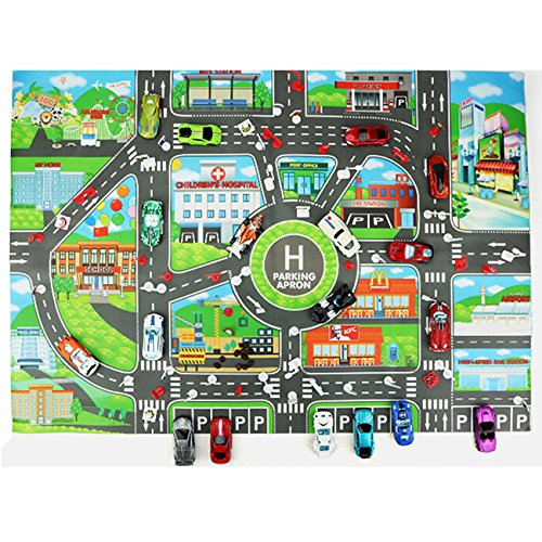 Rurah Parking Lot Roadmap Map Children Play Car City Map Non Woven Fabrics With Route Parking Lot Street For Kids Playing Toy Vehicles