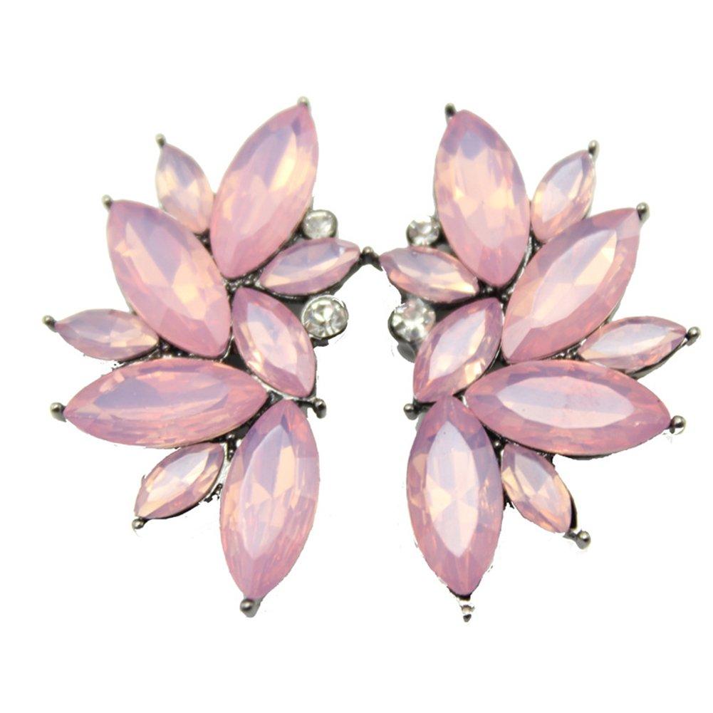 Dds5391 New 1 Pair Fashion Women Rhinestone Ear Drop Dangle Stud Earrings Jewelry Gift - Pink