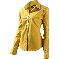 FLY HAWK Blouse hemdblouse dames hemd basic Kent kraag elegant OL Work Slim Fit lange mouwen stretch formele overhemden…