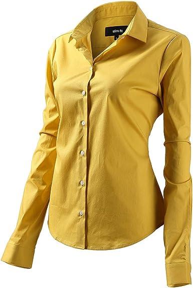 Mujer Camisa Básica de Algodón - Camisa Blusa Casual de Algodón de ...