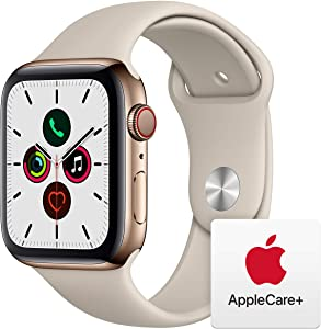 Apple Watch Series 5 (GPS+Cellular, 44mm) - Gold Stainless Steel Case with Stone Sport Band with AppleCare+ Bundle