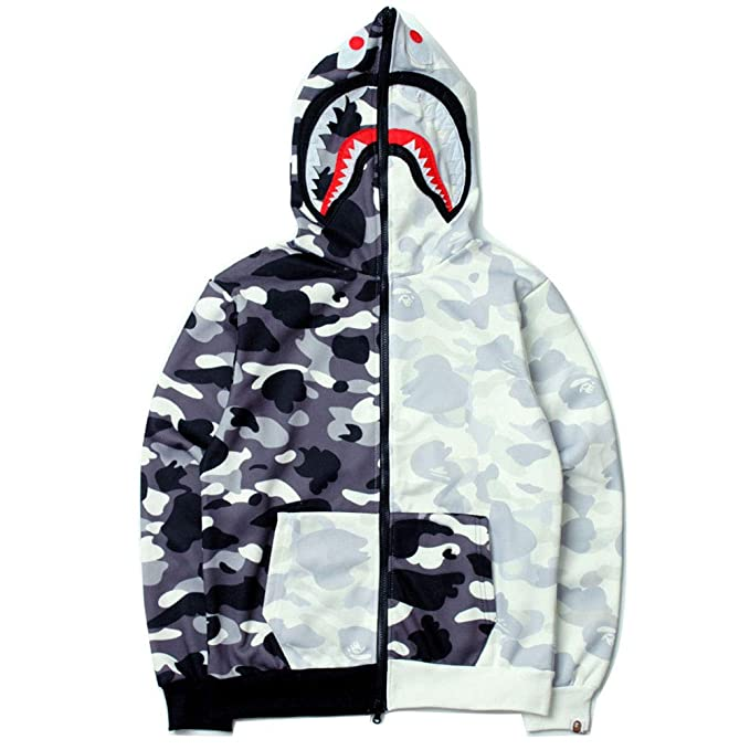 18SS Bape City Camo Black and White Stitching Full Camouflage Shark Zipper Hooded Sweater For Men/Women: Amazon.es: Ropa y accesorios
