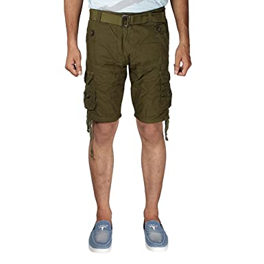 2209d9078a Devil Men's Six Pocket Green Cotton Cargo Shorts: Amazon.in ...