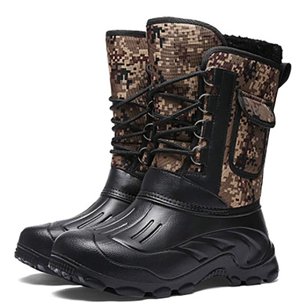 DJBJ Warme Camouflage-Stiefel aus EVA-Winterstiefeln für Herren und Samt im Freien,schwarz,EU40 UK6