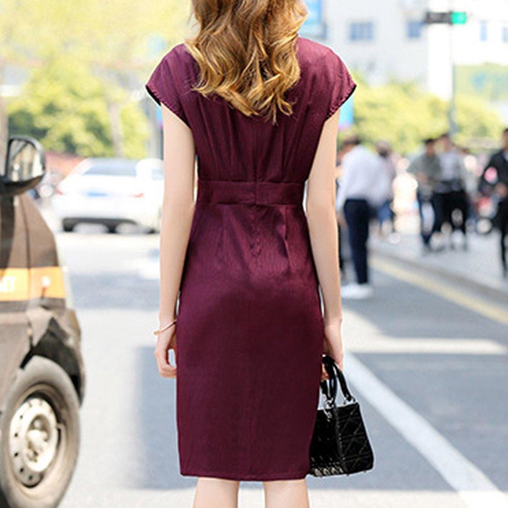 DISSA S9958 Women Vintage Silk Dress Short Sleeve Knee-Long Cocktail Plus Size Dress